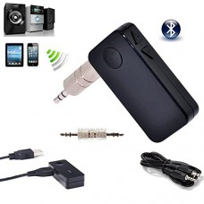 Leegoal Portable A2DP Wireless Bluetooth 3.0 Handsfree Car Home Audio Music Streaming Receiver Adapter with 3.5 mm Stereo Output,Black