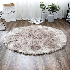 LEEVAN Plush Sheepskin Style Throw Rug Faux Fur Elegant Chic Style Cozy Shaggy Round Rug Floor Mat Area Rugs Home Decorator Super soft Carpets Kids...