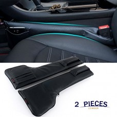 Car Seat Gap Filler Pad PU Leather Console Side Pocket Organizer Set of 2 for Cellphone Wallet Coin Key (black)