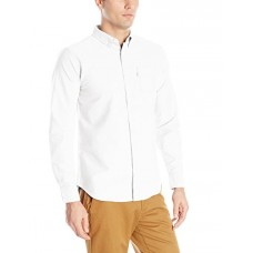 Levi's Men's Clampert Worn in Oxford Long Sleeve Shirt, Bright White, Large