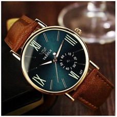 LinTimes Fashion Mens Womens Watch Quartz Analog Roman Numeral Scale Business Casual Wristwatch Brown Band Green Dial