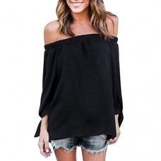 Lisingtool Women's Long Sleeve Off Shoulder Casual Blouse Shirt Tops (XL, Black)