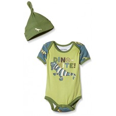 Little Blue House by Hatley Baby Boys' Bodysuit and Cap, Blue Dino, 12-18 Months