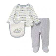 Little Me Baby Boys' 3 Piece Lap Shoulder Set With Bib, Dino, Newborn