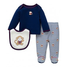 Little Me Baby Boys' Lap Shoulder Set, Blue Stripe, New Born