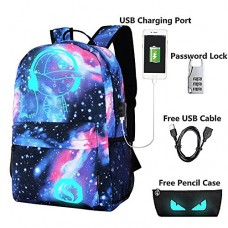 Lmeison Anime Cartoon Luminous Backpack with USB Charging Port and Lock &Pencil Case, Unisex Fashion Galaxy Daypack Shoulder School Rucksack Laptop...