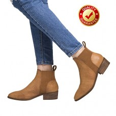 Short Ankle Boots For Women, Winter Spring Low Chunky Block Stacked Heels Round Toe Waist Elastic Slip On Boots For Lady Big Girls Brown US Size 6