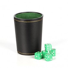Magic Vosom Leather Dice Cup Set Felt Lining Mini Shaker Cup with 5 Dice