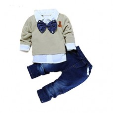 2pcs Toddler Baby Boys Bow Tie Shirt Tops+Denim Pants Gentleman Clothes Outfits (2T-3T)