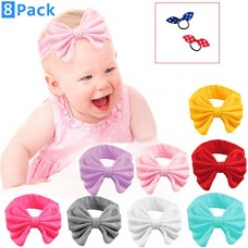 Baby Girl Headbands Set in Pack of 8 Bow Style Hairbands for Newborn - 100% Satisfaction Bundled with Two Hair Ties