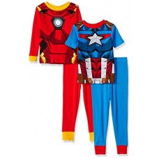 Marvel Little Boys' Avengers 4-Piece Cotton Pajama Set, Heroically Red/Blue, 6