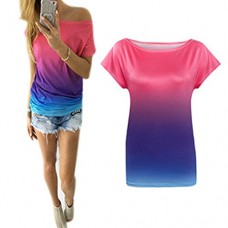 2016 NEW Fashion Lady Short Sleeve O-neck Casual Loose Gradient Color T shirts Blusas (M, Blue)