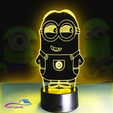 Max's Goods Minions 3D Lamp LED night light Touch Table Desk Lamp 7 Colors 3D Optical Illusion Lights