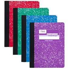 "Mead Composition Books / Notebooks, Wide Ruled Paper, 100 sheets, 9-3/4"" x 7-1/2"", Assorted Colors, 12 Pack (73389)"