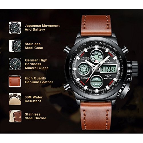 0b660ab7e7 Mens Sports Watches Men Military Waterproof Big Face Analog Digital Brown  Leather Band Wrist Watch (Black)