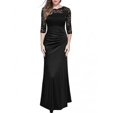 Miusol Women's Retro Floral Lace Vintage 2/3 Sleeve Slim Ruched Wedding Maxi Dress, XX-Large, Black