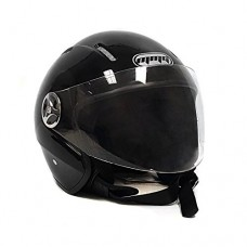 Motorcycle Scooter Open Face Helmet PILOT Flip Up Visor DOT (L, Shiny Black)