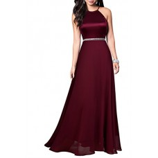 Mmondschein Women's Vintage Halter Wedding Bridesmaid Chiffon Long Dress Darkred S