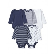 Moon and Back Baby Set Of 5 Organic Long-Sleeve Bodysuits, Navy Sea, 3-6 Months