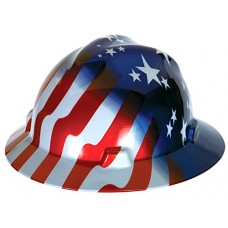 MSA 10071157 V-Gard Hard Hat Front Brim with Ratchet Suspension, Standard, Stars & Stripes