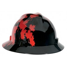 MSA 10082235 V-Gard Hard Hat Front Brim with Ratchet Suspension, Standard, Black w/Red Maple Leaf