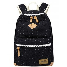 Mygreen Lightweight Leisure Dot 14 Inch Laptop Backpacks Cute Girls Canvas School Backpack Black