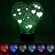 Naladoo3D Lamp Illusion heart Night Light Decorative Desk Lamp 7 Colors for Lover Bedrooms