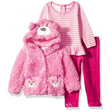 Nannette Baby Girls' 3 Piece Hooded Faux Fur Jacket Set With Tee and Pant, Pink Panda, 6m