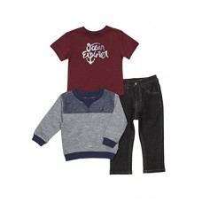 Nautica Baby Boys' French Terry Pullover, Tee and Denim Jogger Set, Retro Blue, 12 Months