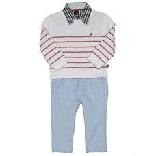 Nautica Baby Boys' Long Sleeve Button Down Shirt, Pullover, and Short With Faux Belt Set, White/Red Stripe, 24 Months