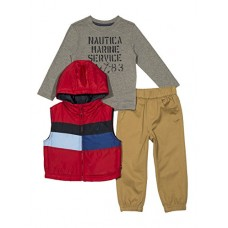 Nautica Baby Boys' Puffer Vest, Tee and Jogger Three Piece Set, Red Rouge, 24 Months