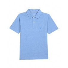 Nautica Boys' Short Sleeve Solid Deck Polo with Chest-Pocket, Sky Blue, M(10/12)