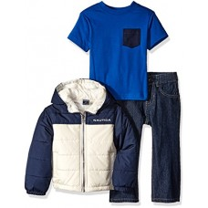 Nautica Little Boys Three Piece Outerwear Set With Colorblock Puffer Jacket, Tee and Pant, Sport Navy, 2T