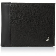 Nautica Men's Milled Leather Passcase Wallet, Black