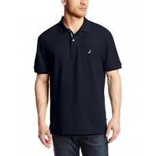 Nautica Men's Short Sleeve Solid Deck Polo Shirt, Navy, Large