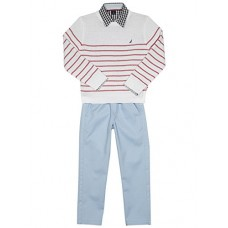 Nautica Toddler Boys' Three Piece Set With Sweater, Woven Shirt, and Twill Pant, White/Red Stripe, 2T