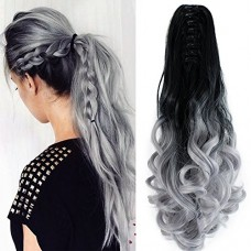 """22"""" Hair Extensions Curly Triple Ombre Three Tone Hairpiece Hair Full Head with 16 Clips Blonde to Light Green to Dark Blue"""