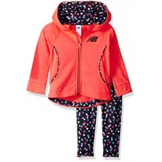 New Balance Kids Baby Girls Hooded Jacket and Tight Set, Cherry/Marble Glow, 12 Months