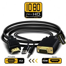 VGA to HDMI Adapter Cable, NewBEP 6Ft/1.8m VGA to HDMI 1080P HD Audio TV AV HDTV Video Converter Cord with 3.5mm Audio Cable & USB Power Cable for ...