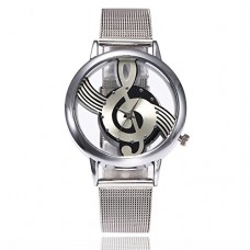 Nextstart Hollow Music Note Notation Watch Stainless Steel Quartz Wristwatches Men Women Mesh Watches