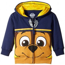 Nickelodeon Toddler Boys' Paw Patrol Character Big Face Zip-Up Hoodies, Chase Navy, 5T