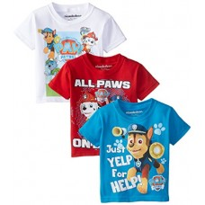 Paw Patrol Little Boys' Toddler 3-Pack T-Shirts, Assorted, 2T