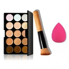 Clearance ! Ninasill 15 Colors Makeup Concealer Contour Palette + Water Sponge Puff + Makeup Brush (Multicolor)