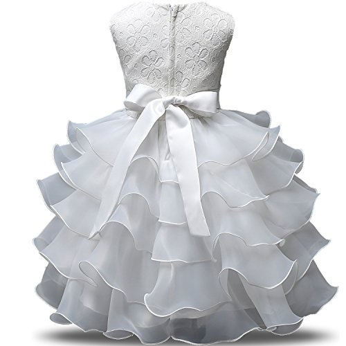 NNJXD Girl Dress Kids Ruffles Lace Party Wedding Dresses