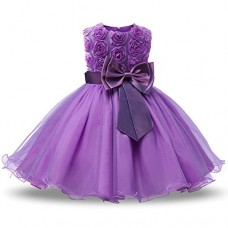 NNJXD Girl Sleeveless Lace 3D Flower Tutu Holiday Princess Dresses Size 5-6 Years Purple