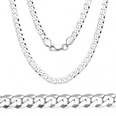 Men's 3mm Solid Sterling Silver .925 Curb Link Chain Necklace, Made in Italy (20 Inches)