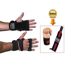 Workout Gloves for CrossFit, Weightlifting, Gym Cross Training, Powerlifting. BONUS Wrist Wrap Braces! Best Sport Gloves for Lifting & Grip Protect...