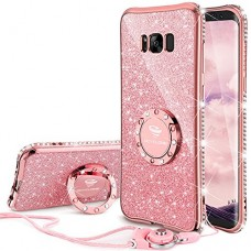 Galaxy S8 Case, Glitter Cute Phone Case Girls with Kickstand, Bling Diamond Rhinestone Bumper Ring Stand Sparkly Luxury Clear Thin Soft Protective ...
