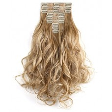 "OneDor 20"" Curly Full Head Synthetic Kanekalon Heat Resistant Clip in Hair Extension 9pcs (R1488H)"