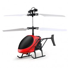 OUBAO 2017 Flying Mini RC Infraed Induction Helicopter Aircraft Flashing Light Toys (Red)
